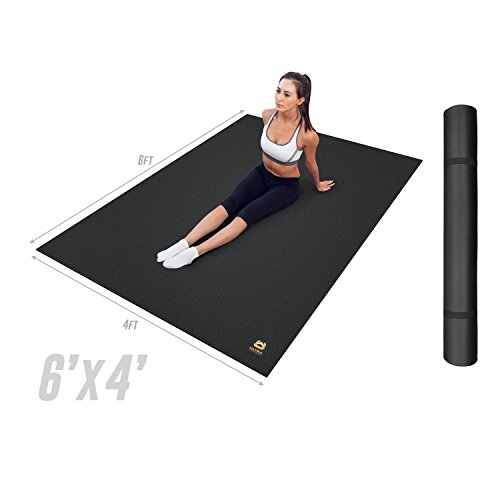 Ultra Fitness Gear Extra Thick 6 x 4 Foot Exercise Work-Out Mat, Perfect for Any Home Gym or Fitness Center, Anti-Microbial Fitness Mat for Yoga, Weight Training and Stretching, Medium