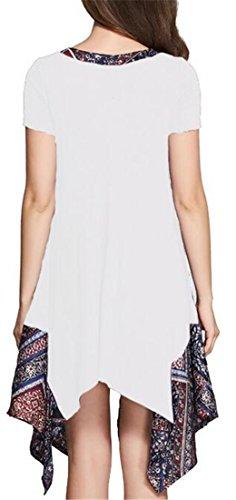 Splice Pieghettato Vestito Camicetta Magliette Donne Bianche Irregolare Cromoncent Collo V Bordo qwUgtxnf