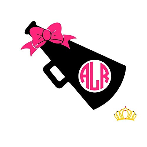 Cheer Monogram Vinyl Decal Sticker, Cheerleading Megaphone Gift for Cheerleader, Custom Size and Colors with Glitter Options Available ()