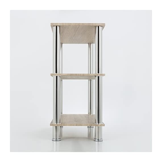 "AVF Wide 3 Tier Shelving unit in Whitewashed Oak & Chrome - Features chrome legs and whitewashed oak shelves Assembled product dimensions (W x D x H): 35.4 x 14.1 x 29.9"" Shelf dimensions (W x D): 35.4 x 14.1"" each - tv-stands, living-room-furniture, living-room - 413AecpIueL. SS570  -"