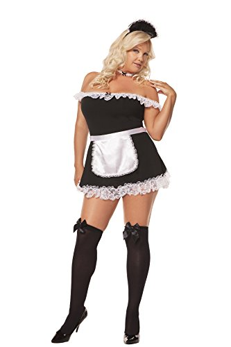 [Sexy French Maid Adult Roleplay Costume, 3X/4X, Black] (Used Plus Size Halloween Costumes)