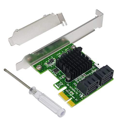 Controller Card Supports - 4-Port SATA III 6Gbps PCIE RAID Host Controller Card Support HyperDuo SSD Tiering IPFS Hard Disk Port Multiplier,Ubit SA3004 Expansion Card for Desktop PC