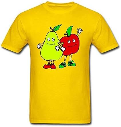 Husba Men's DIY Cartoon Fruit T-shirt Forest Green M