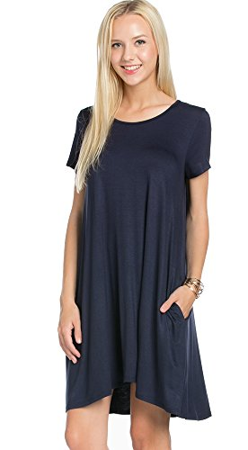 My Space Clothing Womens Side Pocket Knit Jersey Swing Dress - Made in USA (Large, Navy)