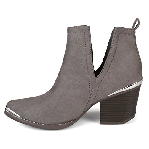 Journee Collection Womens Side Slit Stacked Wood Heel Booties Grey o4ZdJvOd4