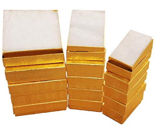 (Cotton Filled Jewelry Gift Box (Gold Foil) Assorted 3 Sizes 5 of Each # 33-32-21)