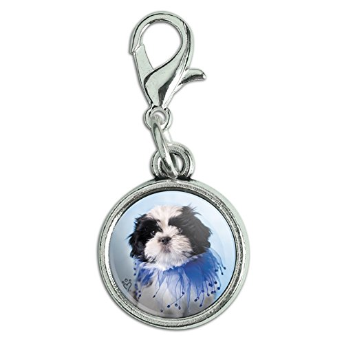 GRAPHICS & MORE Shih Tzu Puppy Dog Jester Blue Antiqued Bracelet Pendant Zipper Pull Charm with Lobster Clasp