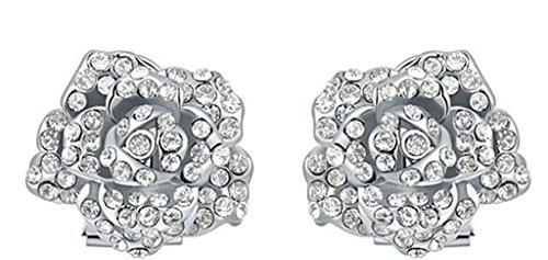 AMDXD Bijoux Plaqué Or Femme Boucles D'oreilles Blanc Rose Une Fleur Rond CZ Incruster 2.5*2.7CM