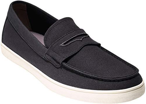 Shoes Casual Men Flat (Cole Haan Men's Hyannis Penny II Loafer, Black Canvas, 10.5 Medium US)