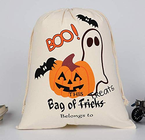 (Kaqkiasiog 1 Pcs Newest Canvas Halloween Bags for Trick or Treat Bundle Pocket Pumpkin Candy Bag Durable for Kids Chidren Gift Set)
