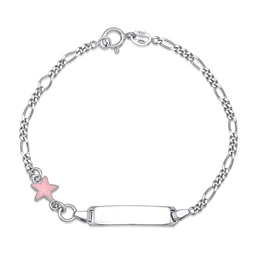 (UNICORNJ Childrens Sterling Silver 925 ID Bracelet Figaro Chain Cute Star with Pink Glitter Enamel 6.5