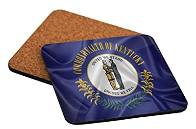 "Rikki Knight ""Kentucky State Flag Design"" Square Beer Coasters"