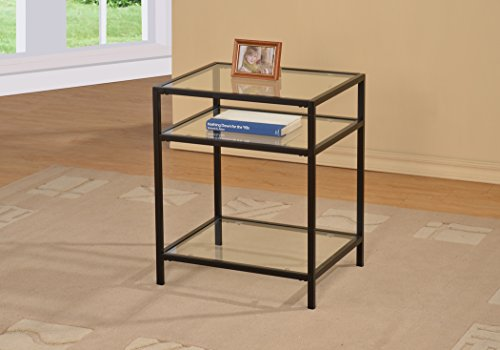 Black Metal Glass Accent Side End Table with Shelf (Accent Glass)