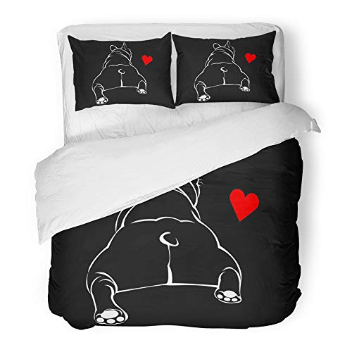 Cap Print Microfiber (Emvency Decor Duvet Cover Set King Size Black Adorable Dog Breed Cute Pet Animal Bulldog French White Adult Boxer Cap 3 Piece Brushed Microfiber Fabric Print Bedding Set Cover)