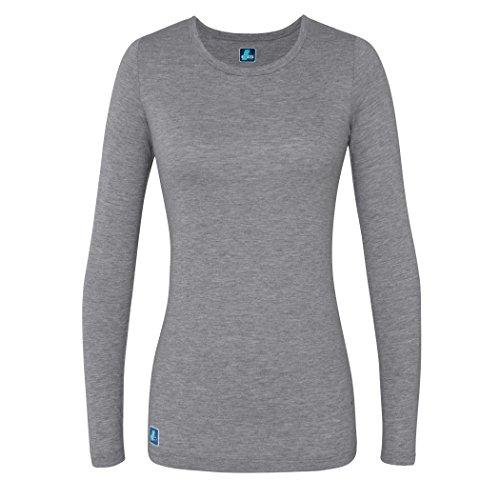 Adar Womens Comfort Long Sleeve T-Shirt Underscrub Tee - 2900 - Dark Marl Gray - L