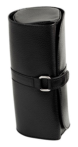 Time Factory AJ-BB531BLK Leather Jewelry Roll with Zippered Compartments for Watches or Bracelets, Straps for Hanging Necklaces and for Rings or Earrings, Black