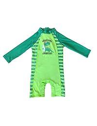 SUNOUTLET Kids Boy's UPF 50+ Sun Protection L/S One Piece Zip Sunsuit Free Sun Hat