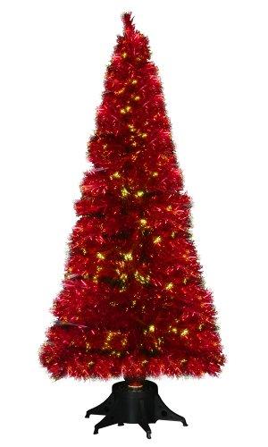 Red Fibre Optic Christmas Tree Rainforest Islands Ferry 6ft Metallic
