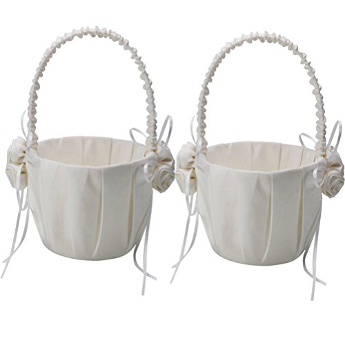 OULII 2-Pack Wedding Satin Flower Girl Basket Ivory With Rose Decorated by OULII (Image #4)