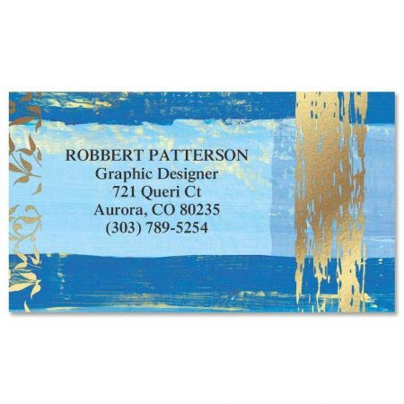 Impressions Gold Foil Business Cards - Set of 250 2'' x 3-1/2'' custom business card design; 80# Cover Stock, Opaque, Matte