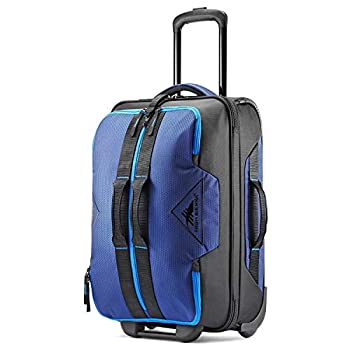 Image of High Sierra Dells Canyon 22-inch Coated Upright Wheeled Luggage Suitcase - Rolling Upright Luggage for Travel - Large Multi-compartment Luggage Suitcase with Wheels True Navy/Black/Sport Blue Luggage