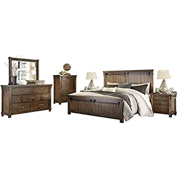 Amazon Com Ashley Lakeleigh 6pc Bedroom Set Cal King Panel Bed Dresser Mirror Two Nightstand