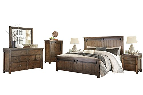 Ashley Lakeleigh 6PC Bedroom Set E King Panel Bed Dresser Mirror Two Nightstand Chest in Brown