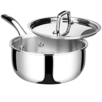 Duxtop Whole-Clad Tri-Ply Stainless Steel Saucepan with Lid, Kitchen Induction Cookware