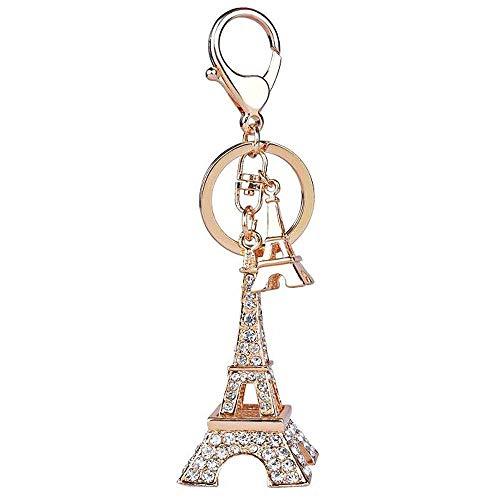 Crystal Eiffel Tower Keyring Rhinestone Purse Bag Charm Pendant Keychain Christmas Gift for Girl Woman Lady (Eiffel Tower-Gold)]()