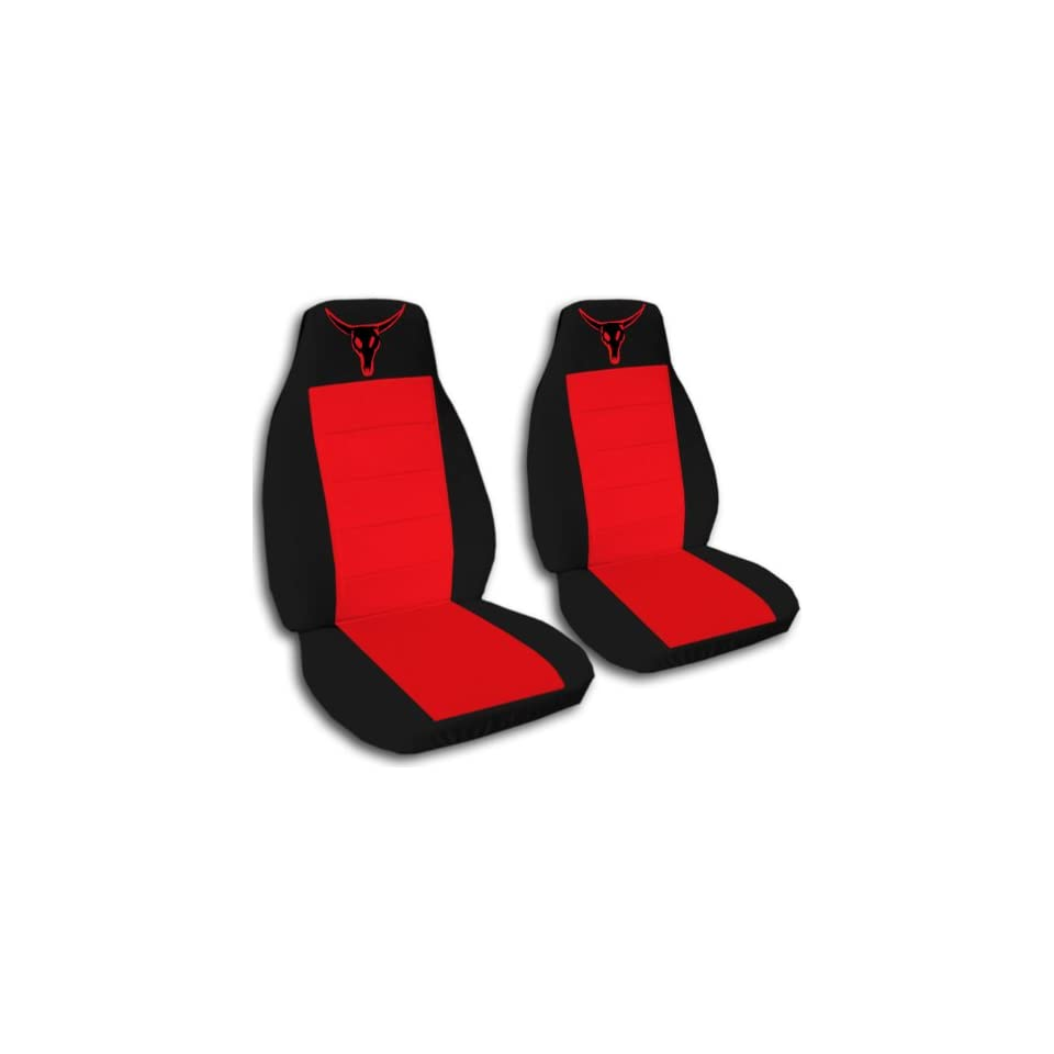 1997 Jeep Wrangler TJ seat covers. One front set of seat covers. Black and red seat covers with a red bull skull.