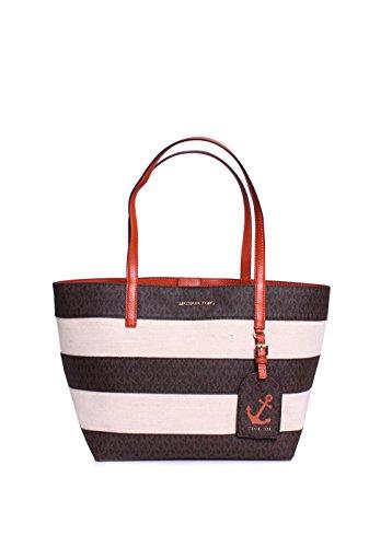 Brown Striped Handbag (Michael Kors Illustrations Monogrammed Striped Canvas Large East West Tote Handbag in Brown/Orange)