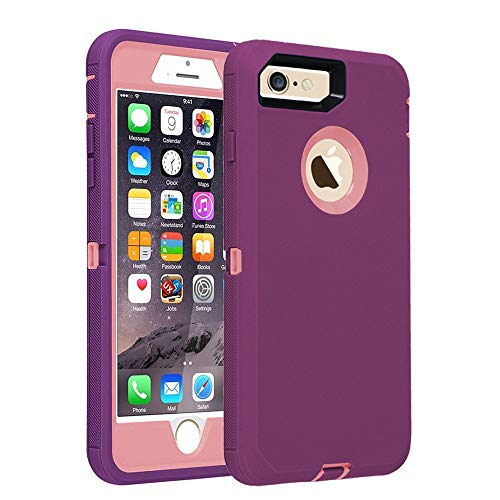 smartelf Case for iPhone 8 iPhone 7 [HEAVY DUTY] 3 in 1 Built-in Screen Protector Shockproof Protective Cover Dust Drop Proof Scratch-resistant Hard Shell for Apple iPhone 7/8 4.7 inch-Purple/Pink