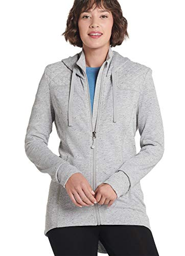 Jockey Women's Tops Hooded Zip Sweater Jacket, Heathered Grey, L