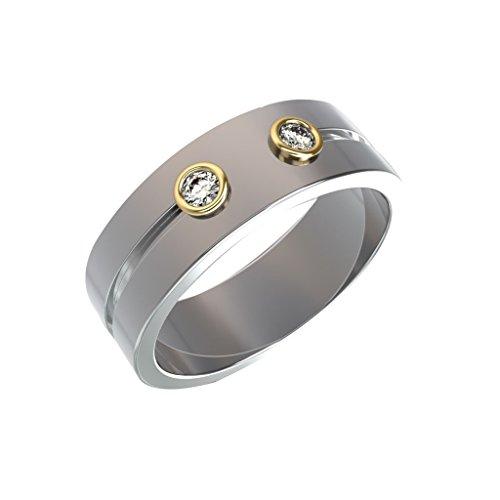 0.1 Carat comfort fit stunning diamond ring with 14k white gold wedding band (Colour HI Clarity I) - 0.1 Ct Diamond Bezel
