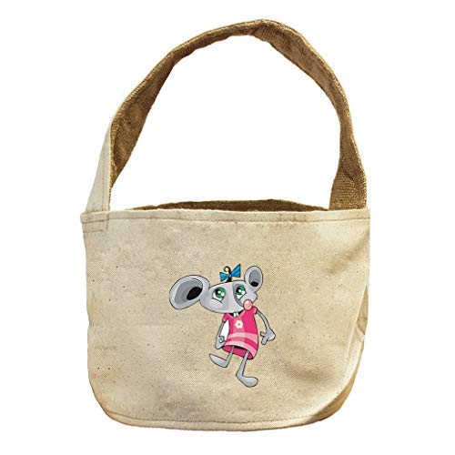 Mouse Female in Dress Animals Canvas and Burlap Storage Basket by Style in Print