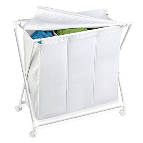 Honey-Can-Do HMP-01387 Rolling Laundry Sorter With Removable Bag, Three Bag - Hide Laundry Holder