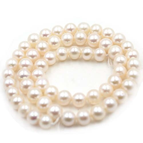 SR BGSJ Jewelry Making Natural 6-7mm AAA Grade Round White Freshwater Pearl Gemstone Spacer Beads Strand 15
