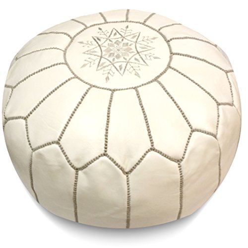 Ikram Design Moroccan Pouf with Grey Stitching, 20-Inch by 13-Inch, White by IKRAM DESIGN