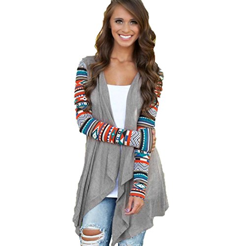 SFY Women Long Sleeve Cardigan Geometric Knitting Patchwork Asymmetric Outwear