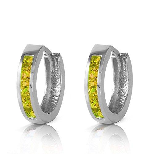 ALARRI 1 Carat 14K Solid White Gold Hoop Huggie Earrings Peridot