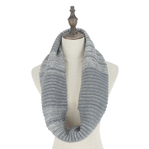 RiscaWin Women Stylish Mixed Color Thick Ribbed Knit Winter Infinity Circle Loop Scarf (Grey)
