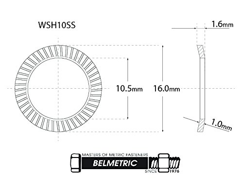 (50pcs) M10 Stainless SCHNORR Brand Ribbed Safety Spring Lock Washer Metric, BelMetric WSH10SS-X by SCHNORR (Image #1)