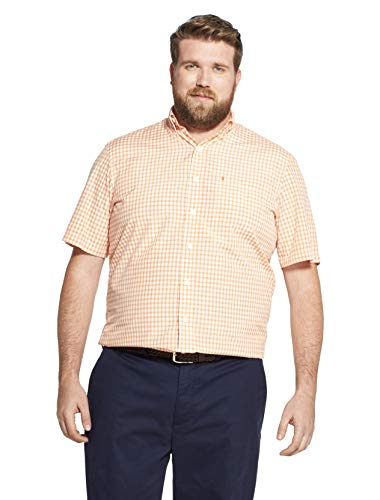 (IZOD Men's Big and Tall Breeze Short Sleeve Button Down Gingham Shirt, Melon, Large Tall )