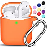 AirPods Case Cover with Keychain, Full Protective Silicone AirPods Accessories Skin Cover for Women Girl with Apple AirPods Wireless Charging Case,Front LED Visible-Orange