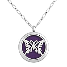 Charmed Craft Butterfly Aromatherapy Essential Oil Diffuser Necklace Stainless Steel Locket Pendant