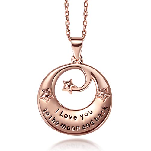 Sterling Silver Rose Gold Pendant Necklace I Love You To The Moon & Back - Valentine Jewelry Gift for Her