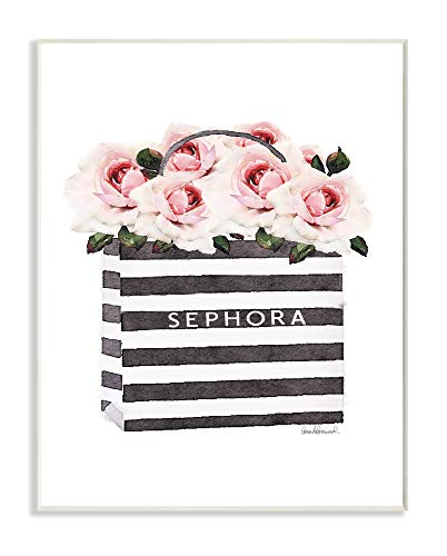 The Stupell Home Décor Collection Striped Makeup Shopping Bag Filled with Pink Roses Wall Plaque Art, Multi-Color