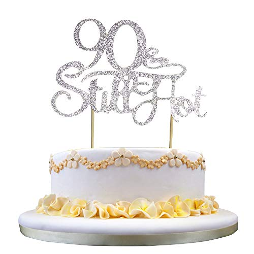 GrantParty Glitter Silver 90&Still Hot Cake Topper - Still Hot at 90 Happy 90th Birthday Cake Topper Wedding Anniversary Party Decoration Photo Props by GrantParty