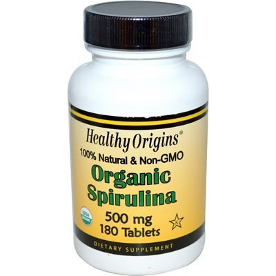 Healthy Orgins Organic and Kosher Spirulina 500 mg Tablets - 180 Count, 8 Pack by Healthy Origins