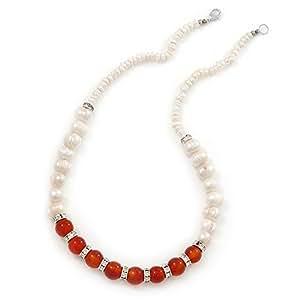 5 mm - 10 mm crema de la perla de agua dulce, la piedra cornalina y anillos de cristal collar - 45 cm L